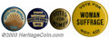 "Suffragette Material, Four different Women's Suffrage buttons. Includes 1 1/4"" ... (4 items)"