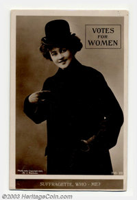 """""""Votes for Women"""" real photo postcard on bromide paper. This rare card shows a lovely miss wearing a derby and..."""