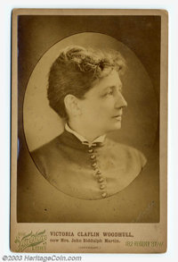 "First woman to run for president! Cabinet card of ""Victoria Claflin Woodhull, now Mrs. John Biddulph Martin.""..."