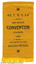 "Suffragette Material, Early New York State suffrage ribbon. 3"" x 5 1/2"" black on ..."