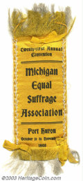 "Michigan suffrage ribbon. 2"" x 6"" black on yellow ribbon inscribed ""Twenty-first Annual Convention. Michi..."