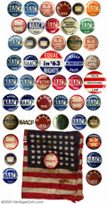 Suffragette Material, Collection of Civil Rights buttons and badges. Includes ... (48 items)