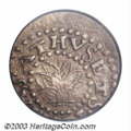 1662 2PENCE Oak Tree Twopence AU53 PCGS. Noe-30, Crosby 1-A2, R.4. 10.8 grains. A die break from the 2 in the date to a...