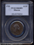 1723 1/2P Hibernia Halfpenny MS63 Brown PCGS. Breen-157. A nicely struck example with pleasing eye appeal and glossy gol...