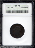 Half Cents: , 1807 1/2 C XF45 ANACS. B-1, C-1, R.2. The only known dies ...