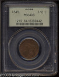 1849 1/2 C Large Date MS64 Red and Brown PCGS. B-4, C-1, R.2. Glimmers of gold color intrude upon the lilac-brown fields...