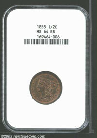 1855 1/2 C MS64 Red and Brown NGC. B-1, C-1, R.1. Considerable copper-gold luster glimmers from the letters, stars, and...