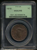 1818 1C MS62 Red and Brown PCGS. N-10, R.1. Well struck in the centers, with typical definition on the stars. Golden-bro...