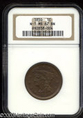1850 1C MS67 Brown NGC. N-1, R.2. A magnificently preserved chocolate-brown Superb Gem. The strike on the major devices...