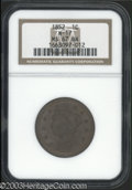 1852 1C MS67 Brown NGC. N-17, R.1. A small die lump (as made) near the crossbar of the E in ONE aids attribution. The ch...