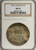 1900 $1 Lafayette Dollar MS67 NGC. DuVall 2-C. The Lafayette dollar, design by Charles Barber, synthesized a variety of...