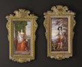 Ceramics & Porcelain, A Pair of Enamel Painted Plaques. After Anthony Van Dyck, France. Nineteenth Century. Enamel. Unmarked. 11 inches long x 6... (Total: 2 )
