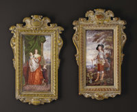 A Pair of Enamel Painted Plaques  After Anthony Van Dyck, France Nineteenth Century Enamel Unmarked 11 inches long x 6...