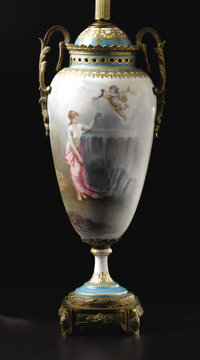 A Sèvres-Style Two Handled Porcelain Vase Unknown maker, painted by Cottinel, France Circa 1900 Porcelain with po...