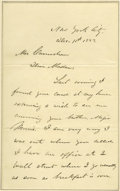 "Autographs:U.S. Presidents, Ulysses S. Grant Autograph Letter Signed A.L.S. ""U.S. Grant"", 2pp., New York City, Dec. 11, 1883, to a ""Mrs. Camochan""..."