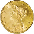 Liberty Eagles: , 1858 $10 MS64 PCGS. This is a classic rarity within the Liberty eagle series. Just 2,521 examples were coined, the 15th low...