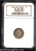 Proof Indian Cents: , 1864 1C Copper Nickel PR65 Cameo NGC. A scarce copper-...