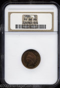Proof Indian Cents: , 1880 1C PR66 Red and Brown NGC. Fully struck with vivid ...
