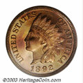 Proof Indian Cents: , 1892 1C PR66 Red PCGS. The 1 in the date is lightly ...