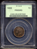 Proof Indian Cents: , 1893 1C PR65 Red PCGS. The intense red-gold and green ...