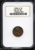 Lincoln Cents: , 1934-D 1C MS67 Red NGC. Well struck with full glowing ...