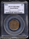 1864 2C Small Motto MS64 Red and Brown PCGS. A well struck near-Gem that has intermingled honey-gold and lavender patina...