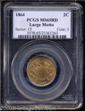 1864 2C Large Motto MS65 Red PCGS. Millions were struck of this first year issue, but full red Gems are anything but com...