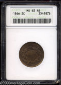 Two Cent Pieces: , 1866 2C MS63 Red and Brown ANACS. Pleasing, original ...
