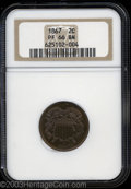 1867 2C PR66 Brown NGC. An exquisitely struck Gem that has vividly variegated ruby-red and peach patina. Seemingly free...