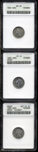 Three Cent Nickels: , 1865 3CN MS63 ANACS, well struck and attractive, silver-... (3 Coins)