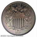 1867 5C Rays--Obverse Die One, Original--PR60 ANACS. It is generally believed that only 25 proofs were struck of the Wit...