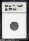 Early Half Dimes: , 1797 H10C 15 Stars--Scratched, Bent--ANACS. Fine Details, ...