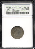 Early Dimes: , 1807 10C --Cleaned--ANACS. AU Details, Net AU50. JR-1, R.2....