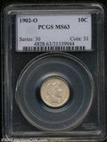 Barber Dimes: , 1902-O 10C MS63 PCGS. Generally untoned and well defined, ...