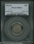 Barber Dimes: , 1903-O 10C MS64 PCGS. Rich olive, lavender, and golden-...