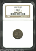 Barber Dimes: , 1908-D 10C MS66 NGC. Fully struck with deep, variegated ...