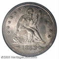 1853 25C Arrows and Rays MS66 NGC. In order to denote a weight reduction from 6.68 grams to 6.22 grams, Mint Director Ge...