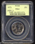 Seated Quarters: , 1873 25C Open 3 MS64 PCGS. Briggs 1-A. Mottled mauve and ...