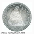 Proof Seated Quarters: , 1866 25C PR65 ICG. The surfaces are deeply toned in blue-...
