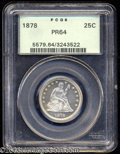 Proof Seated Quarters: , 1878 25C PR64 PCGS. Fully impressed, lightly toned, and ...