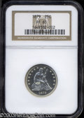 Proof Seated Quarters: , 1879 25C PR65 NGC. Fully struck and lightly toned, with ...