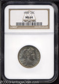 Barber Quarters: , 1906 25C MS64 NGC. An above-average strike that is well ...