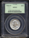Washington Quarters: , 1932-S 25C MS63 PCGS. Fully lustrous beneath dappled gray-...