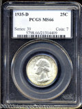 Washington Quarters: , 1935-D 25C MS66 PCGS. Very frosty and well struck with a ...