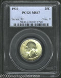 Washington Quarters: , 1936 25C MS67 PCGS. Fully struck and satiny with light ...