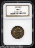 Washington Quarters: , 1953-S 25C MS67 NGC. A conditionally scarce offering for ...
