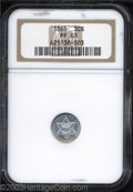 1865 3CS PR63 NGC. A thin veil of haziness has a muting effect on the obverse, while the reverse is fully brilliant. Fro...