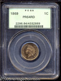 Proof Indian Cents: , 1869 1C PR64 Red PCGS. Gold and peach hues hug this ...