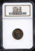 Proof Indian Cents: , 1871 1C PR64 Red and Brown NGC. A crisply struck near-Gem ...