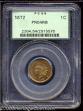 Proof Indian Cents: , 1872 1C PR64 Red and Brown PCGS. Light apple-green and ...